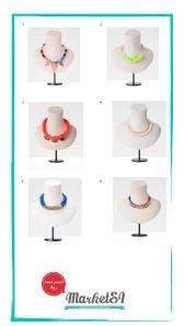 1.Collar triangulos flúor12,95  €2.Collar transparente flores12,95  €3. Collar cordones flúor 15,95  € 4.Collar metal y suede  7,95  €  € 5.Collar trenzado con metal 7,95  € 6. Collar tejido étnico y piedras 12,95  €